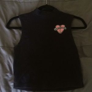 mock neck black tank with patch